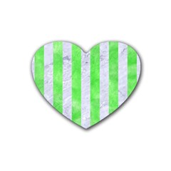 Stripes1 White Marble & Green Watercolor Rubber Coaster (heart)