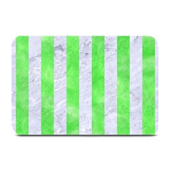 Stripes1 White Marble & Green Watercolor Plate Mats