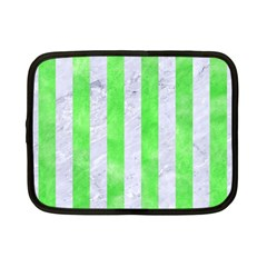 Stripes1 White Marble & Green Watercolor Netbook Case (small)