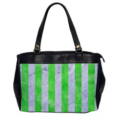Stripes1 White Marble & Green Watercolor Office Handbags