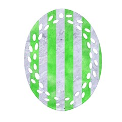 Stripes1 White Marble & Green Watercolor Ornament (oval Filigree)