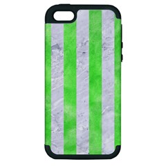 Stripes1 White Marble & Green Watercolor Apple Iphone 5 Hardshell Case (pc+silicone)
