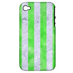 Stripes1 White Marble & Green Watercolor Apple Iphone 4/4s Hardshell Case (pc+silicone)