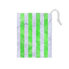 Stripes1 White Marble & Green Watercolor Drawstring Pouches (medium)
