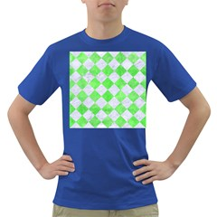 Square2 White Marble & Green Watercolor Dark T Shirt