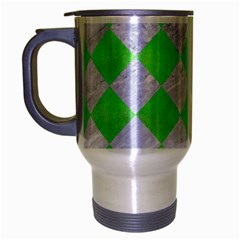 Square2 White Marble & Green Watercolor Travel Mug (silver Gray)