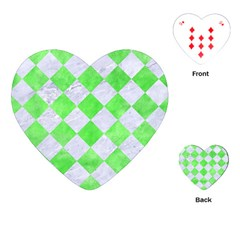 Square2 White Marble & Green Watercolor Playing Cards (heart)