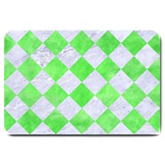 Square2 White Marble & Green Watercolor Large Doormat
