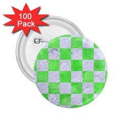 Square1 White Marble & Green Watercolor 2 25  Buttons (100 Pack)