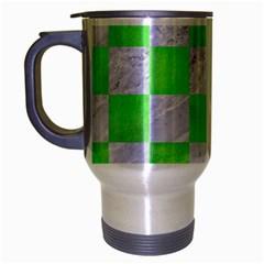 Square1 White Marble & Green Watercolor Travel Mug (silver Gray)