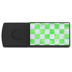 Square1 White Marble & Green Watercolor Rectangular Usb Flash Drive