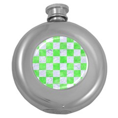 Square1 White Marble & Green Watercolor Round Hip Flask (5 Oz)