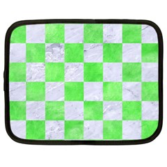 Square1 White Marble & Green Watercolor Netbook Case (xl)