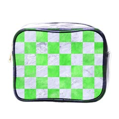 Square1 White Marble & Green Watercolor Mini Toiletries Bags
