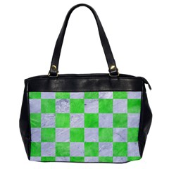 Square1 White Marble & Green Watercolor Office Handbags