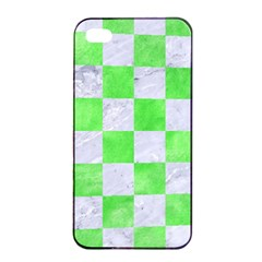 Square1 White Marble & Green Watercolor Apple Iphone 4/4s Seamless Case (black)