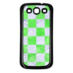 Square1 White Marble & Green Watercolor Samsung Galaxy S3 Back Case (black)