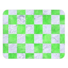 Square1 White Marble & Green Watercolor Double Sided Flano Blanket (large)