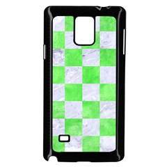 Square1 White Marble & Green Watercolor Samsung Galaxy Note 4 Case (black)