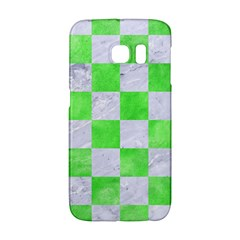 Square1 White Marble & Green Watercolor Samsung Galaxy S6 Edge Hardshell Case