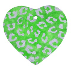 Skin5 White Marble & Green Watercolor (r) Heart Ornament (two Sides)