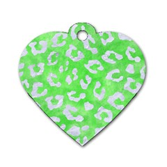 Skin5 White Marble & Green Watercolor (r) Dog Tag Heart (two Sides)