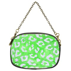Skin5 White Marble & Green Watercolor (r) Chain Purses (two Sides)