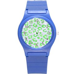 Skin5 White Marble & Green Watercolor Round Plastic Sport Watch (s)