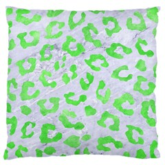 Skin5 White Marble & Green Watercolor Large Flano Cushion Case (two Sides)