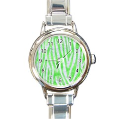 Skin4 White Marble & Green Watercolor (r) Round Italian Charm Watch