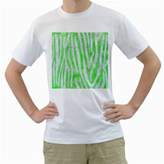 Skin4 White Marble & Green Watercolor (r) Men s T Shirt (white) (two Sided)