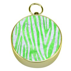 Skin4 White Marble & Green Watercolor (r) Gold Compasses