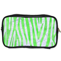 Skin4 White Marble & Green Watercolor Toiletries Bags 2 Side
