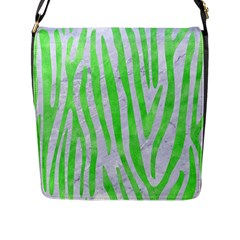 Skin4 White Marble & Green Watercolor Flap Messenger Bag (l)