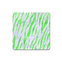 Skin3 White Marble & Green Watercolor (r) Square Magnet