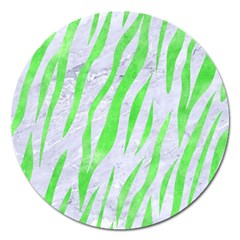 Skin3 White Marble & Green Watercolor (r) Magnet 5  (round) by trendistuff
