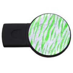 Skin3 White Marble & Green Watercolor (r) Usb Flash Drive Round (4 Gb) by trendistuff