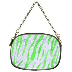 Skin3 White Marble & Green Watercolor (r) Chain Purses (one Side)