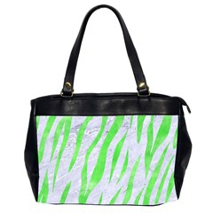 Skin3 White Marble & Green Watercolor (r) Office Handbags (2 Sides)