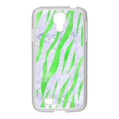 Skin3 White Marble & Green Watercolor (r) Samsung Galaxy S4 I9500/ I9505 Case (white)