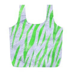 Skin3 White Marble & Green Watercolor (r) Full Print Recycle Bags (l)  by trendistuff