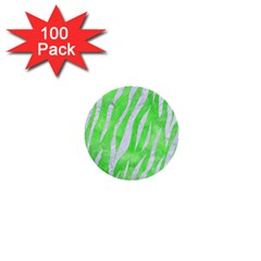 Skin3 White Marble & Green Watercolor 1  Mini Buttons (100 Pack)