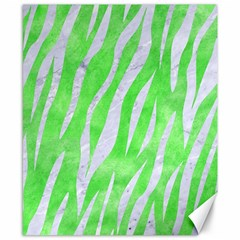 Skin3 White Marble & Green Watercolor Canvas 8  X 10