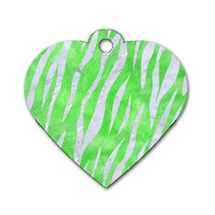 Skin3 White Marble & Green Watercolor Dog Tag Heart (two Sides)