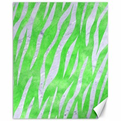 Skin3 White Marble & Green Watercolor Canvas 11  X 14