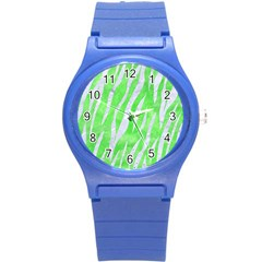 Skin3 White Marble & Green Watercolor Round Plastic Sport Watch (s)