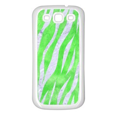 Skin3 White Marble & Green Watercolor Samsung Galaxy S3 Back Case (white)