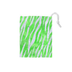 Skin3 White Marble & Green Watercolor Drawstring Pouches (small)