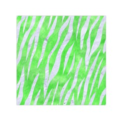 Skin3 White Marble & Green Watercolor Small Satin Scarf (square)