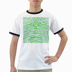 Skin2 White Marble & Green Watercolor (r) Ringer T Shirts